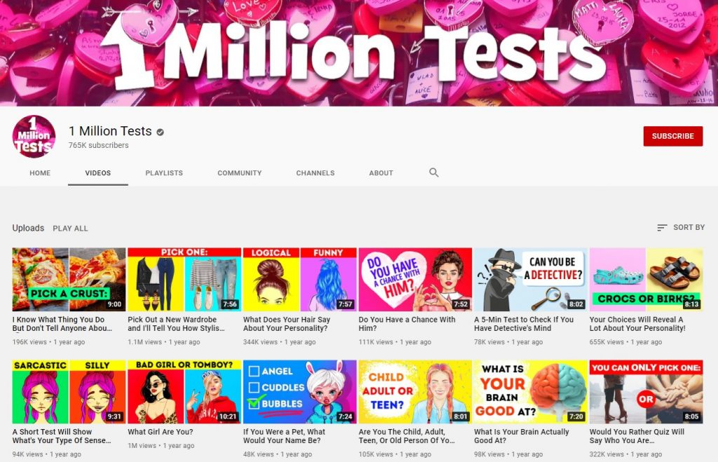 1 million tests youtube channel